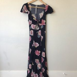 Floral print cutout (front and back) maxi dress.